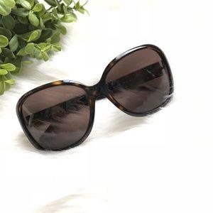 Prada Tortoise Shell Sunglasses Gold Studs
